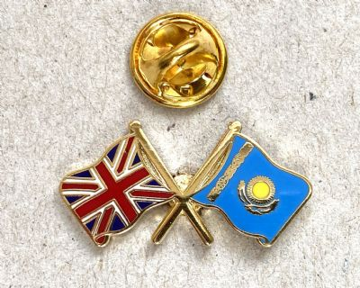 UNION JACK & KAZAKHSTAN - FLAG FRIENDSHIP BADGE (T1104)